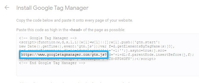 Google Tag Manager, example installation snippet
