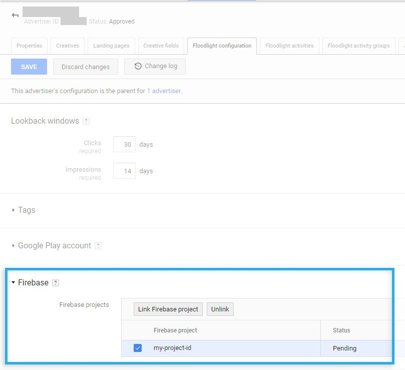 Google CM / Floodlight configuration / Link with the Firebase project