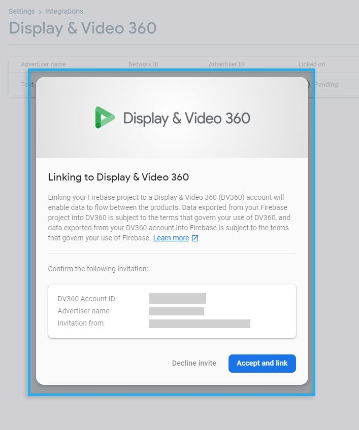 Google DV360 & Google CM / Linking confirmation screen