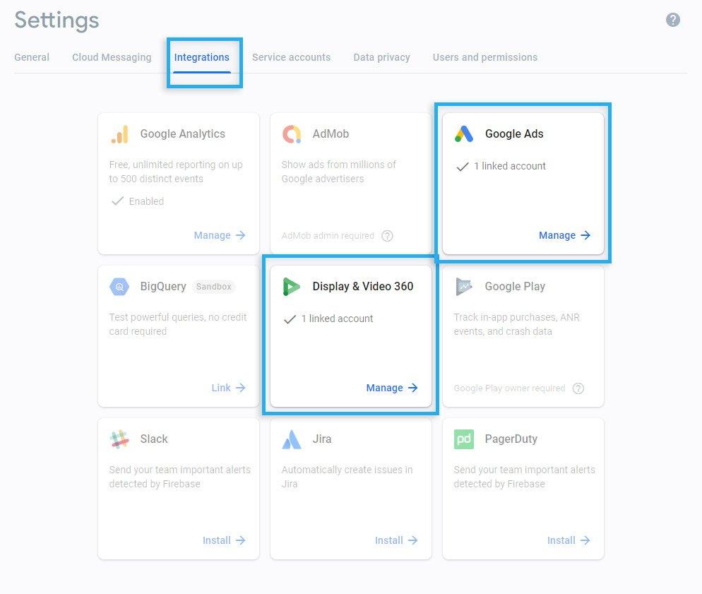 Firebase / Integrations / Linked Google DV360 & Google Ads