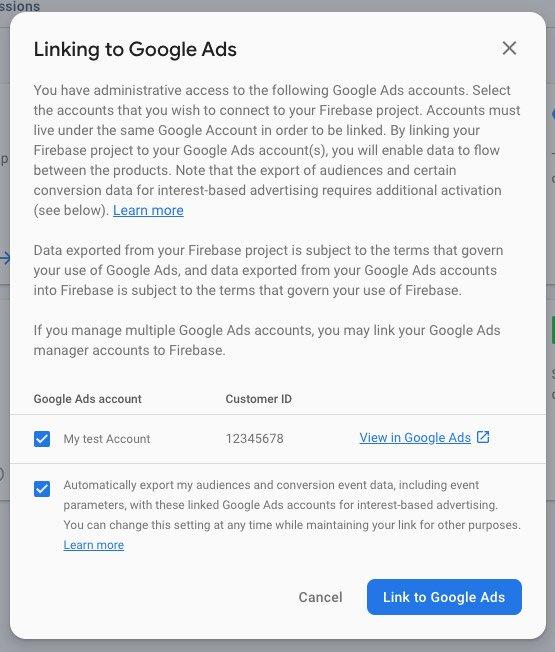 Firebase / Settings / Integrations / Google Ads / Select main account