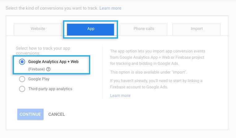 Google Ads / Conversions / Import Firebase app conversion
