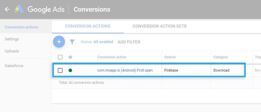 Google Ads / Conversions / Imported Firebase conversion