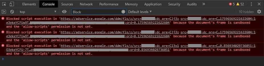 HTML5 iFrame / Sandbox attribute / Chrome security error