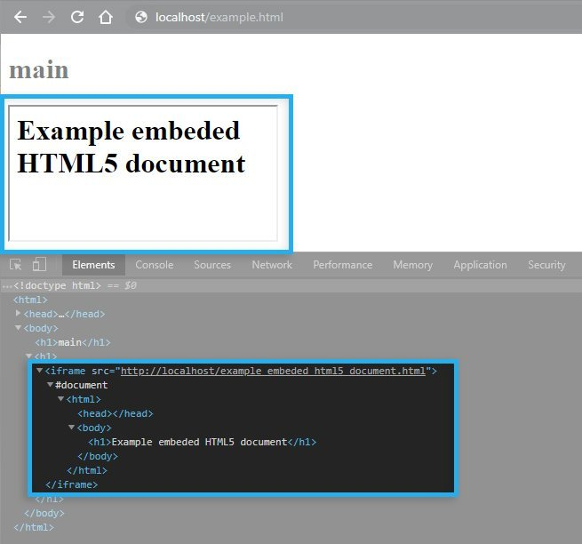 HTML5 iFrame / Example tag preview