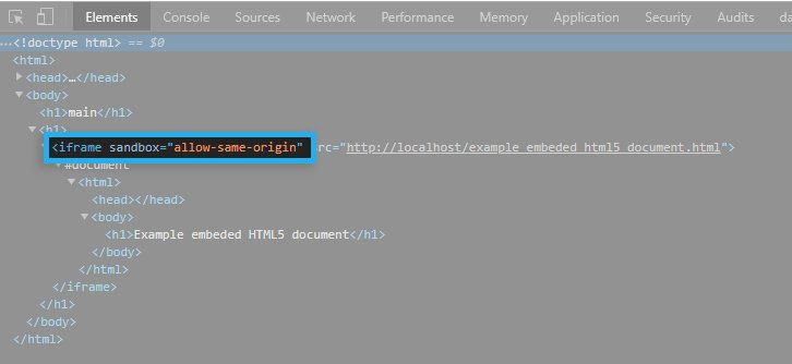 HTML5 iFrame / Sandbox attribute / Example tag preview
