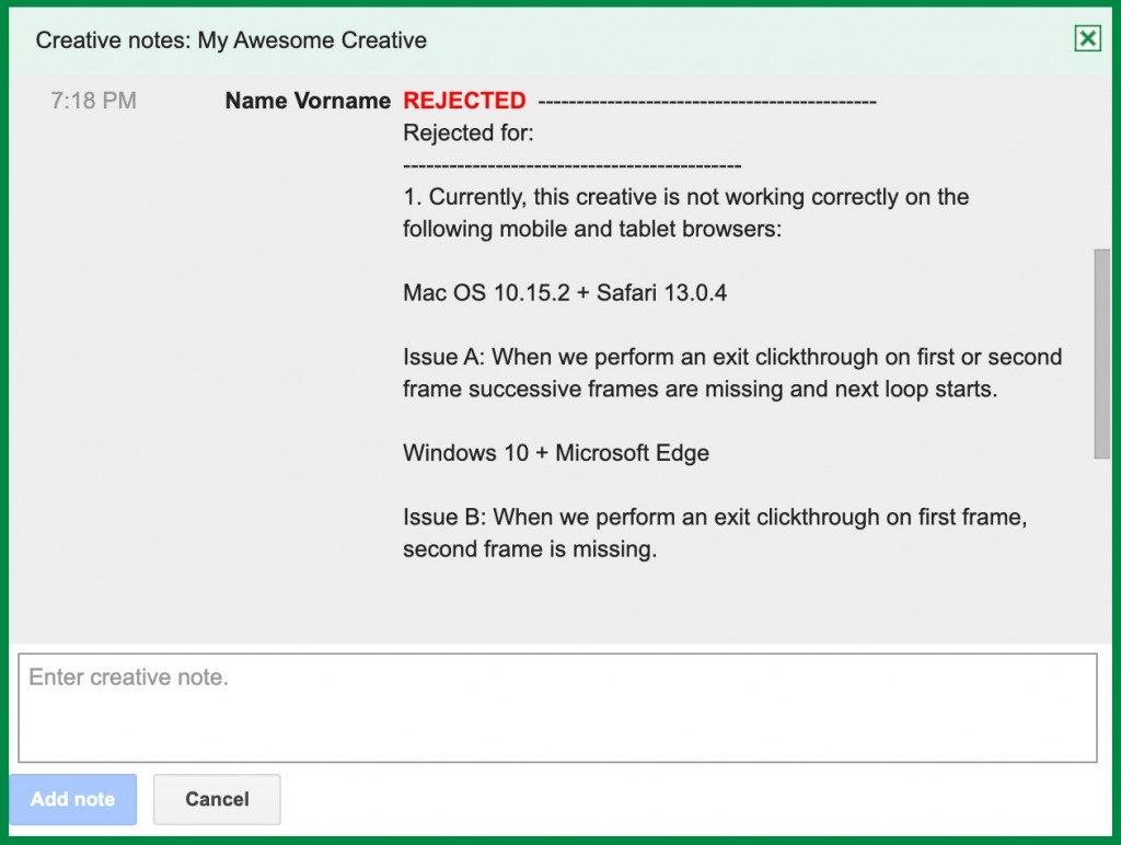 Google Studio / Creatives Rejected / Safari & iOS problem