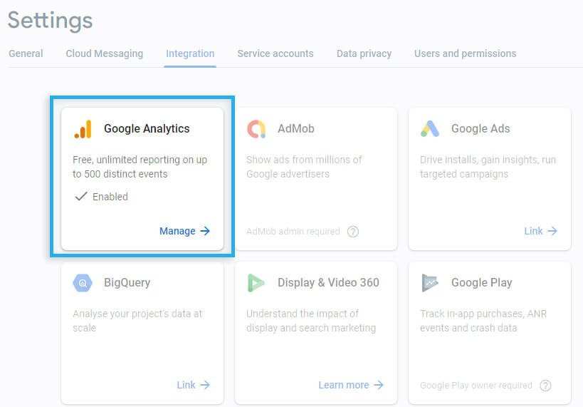 Firebase project / Integrations / Link with App+Web Google Analytics property