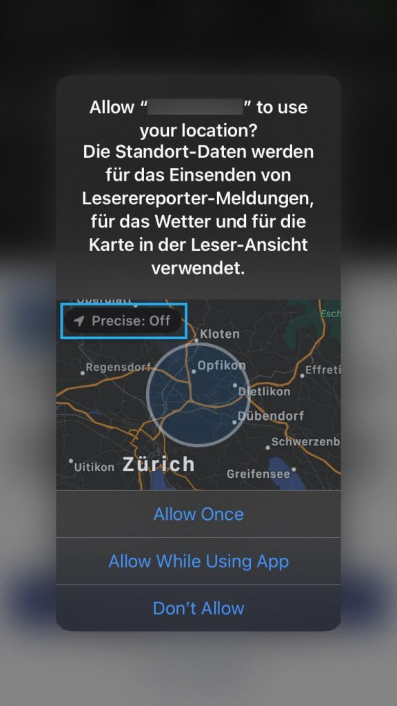 iOS 14 / Approximate Location / Precise location disabled