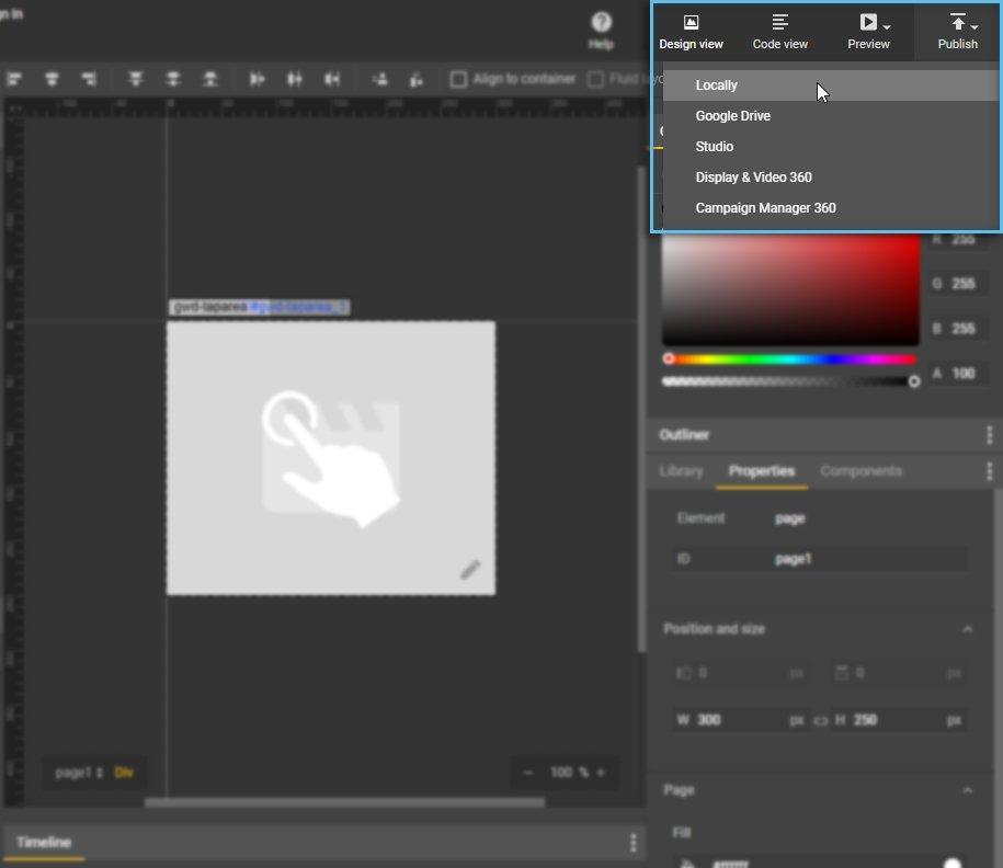 Creative Publish settings / Google Web Designer