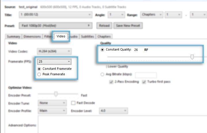 Rich Media Creative / HandBrake / Optimize Video settings