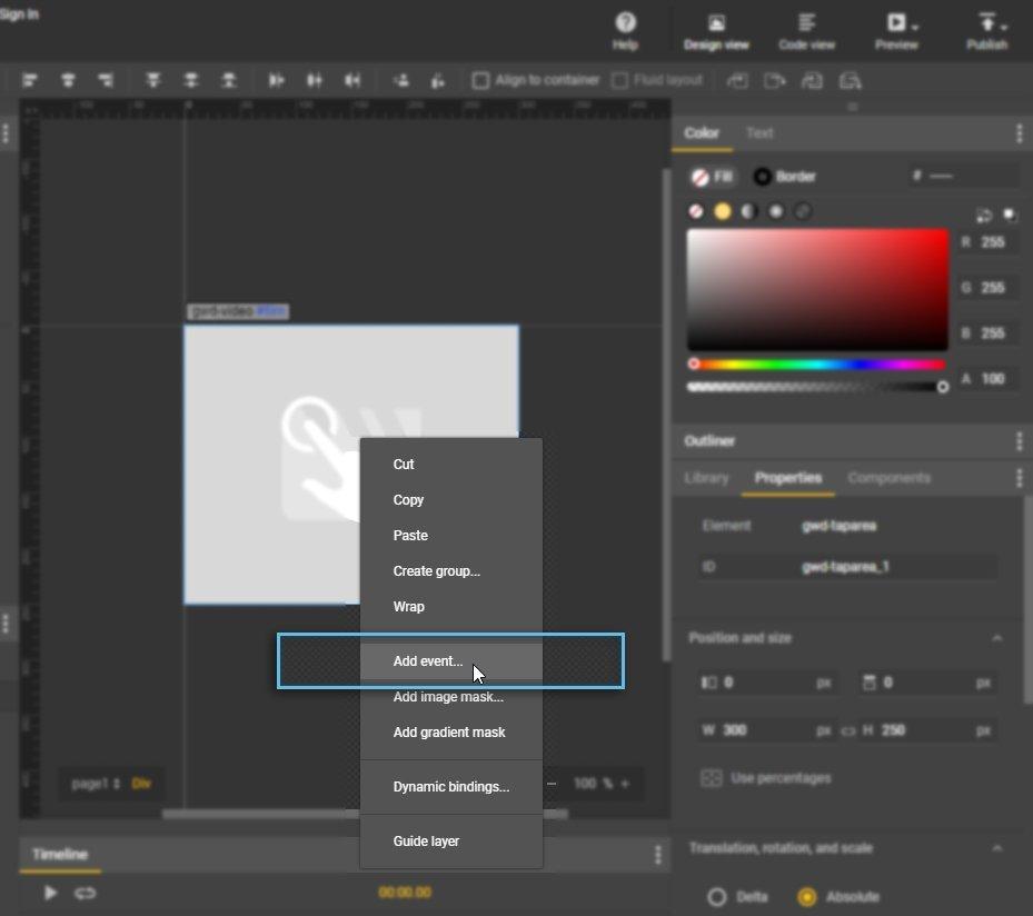 TapArea / Right click options menu / Add event / Google Web Designer