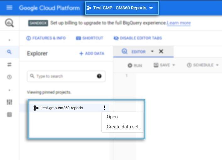 Google Cloud Platform / BigQuery / Project / Data Sets Overview