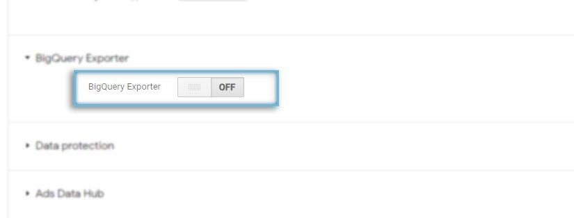 Google CM360 / Admin / Account / Enable BigQuery Exporter