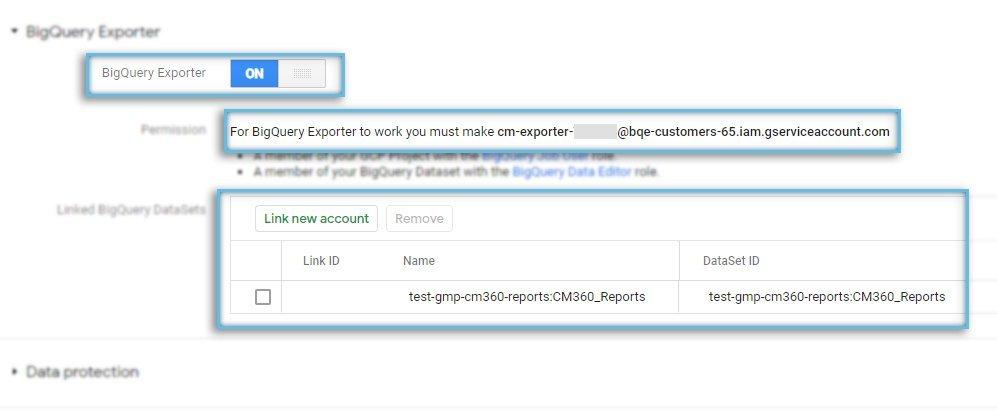 Google CM360 / Admin / Account / BigQuery Exporter / Setup