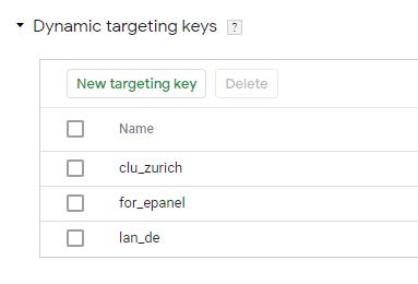 Google Marketing Platform / CM360 / Advertiser / Dynamic Targeting Keys