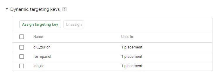 Google Marketing Platform / CM360 / Campaign / Placement: Dynamic Targeting Keys
