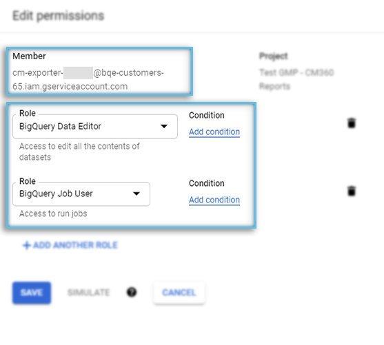 Google Cloud Platform / IAM & Admin / New Member & Roles