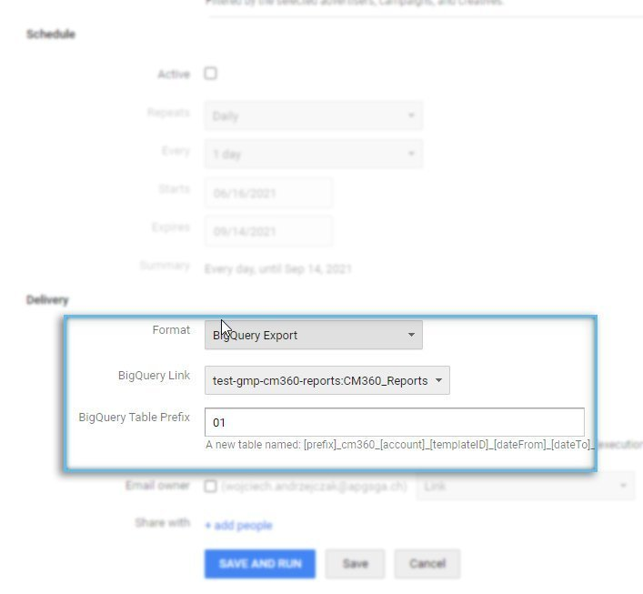 Google Campaign Manager / Reporting / BigQuery Export