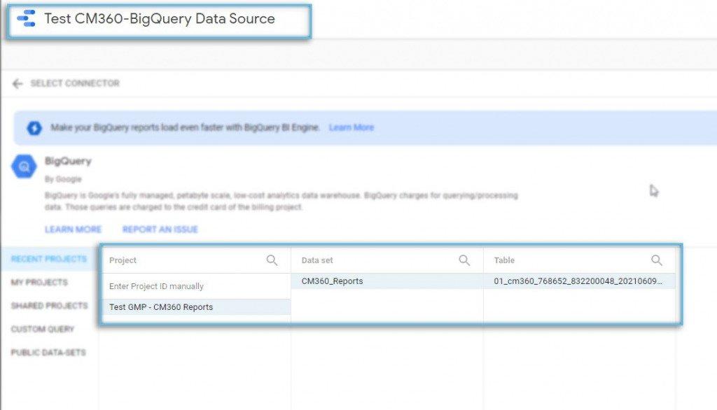 Google Data Studio / Data Source / BigQuery / Select Table Source