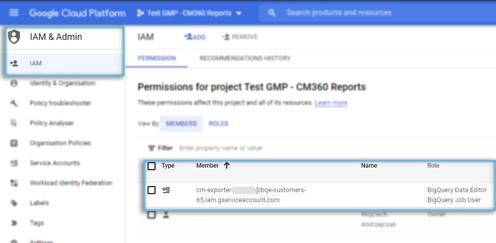 Google Cloud Platform / IAM & Admin / New Members ready