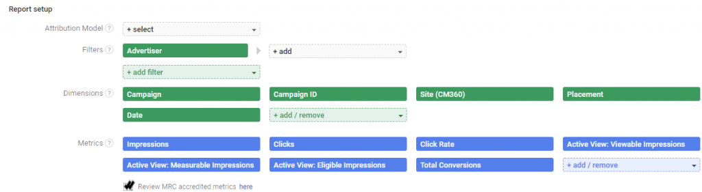 Google Campaign Manager / Reporting / Example campaign fields