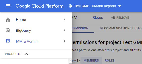 Google Cloud Platform / Pined Menu Sections